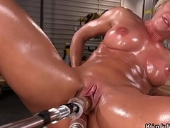 Heavy chest lubricated Milf bangs gadget