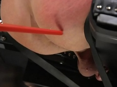 Ball-gagged submissive gets electro play from dom