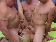 extreme eroded German Milf receives team fuck fisted