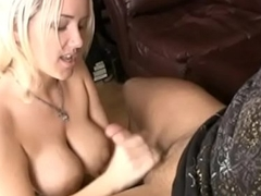 Spunk slut wanks cock in the balance covered with cream