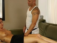 Bonny amateur gives blowjob connected with masseur