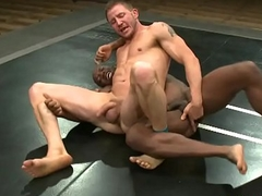 Wrestling black stump gets a hand job from maledom