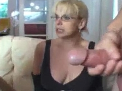 Teen with an increment of mature mimic team handjob