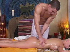 Heavy boobs blonde bonks her masseur