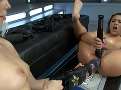 Butch chicks upside down for sex toy outfit