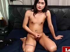 Jism spraying ladyboy wanks the brush firm cock