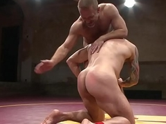 Cockblowing wrestling stud receives cum in indiscretion
