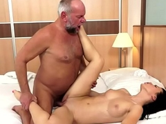 Stunning eurobabe jizzed on innards apart from grandpapa